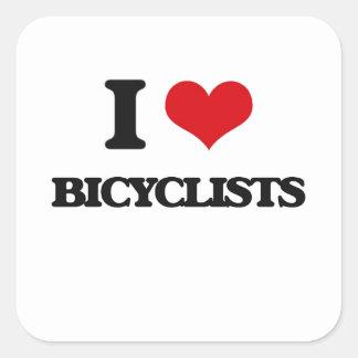 I Love Bicyclists Square Sticker