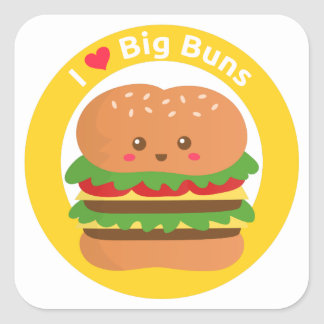 I Love Big Buns, Kawaii Big Burger Square Sticker