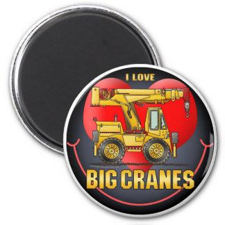 I Love Big Cranes Round Magnet