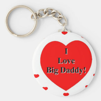 I Love Big Daddy Hearts by A. Celeste Sheffey Key Ring