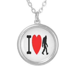 I LOVE BIGFOOT SILVER PLATED NECKLACE