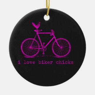 I love Biker Chicks Funny Chicken Ceramic Ornament