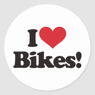 I Love Bikes! Round Sticker