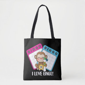 I Love Bingo Monkey fun gambling tote bag