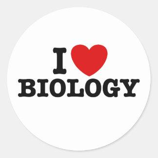I Love Biology Classic Round Sticker