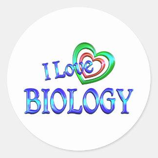 I Love Biology Round Sticker