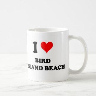 I Love Bird Island Beach Coffee Mugs