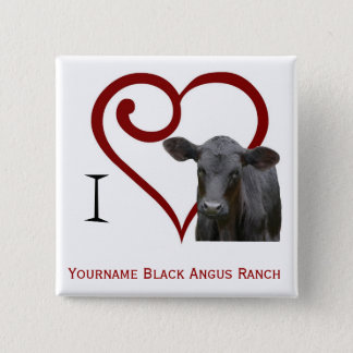 I love Black Angus Beef 15 Cm Square Badge