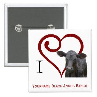 I love Black Angus Beef 15 Cm Square Badge