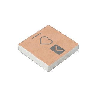 I Love Black Envelopes Stone Magnet