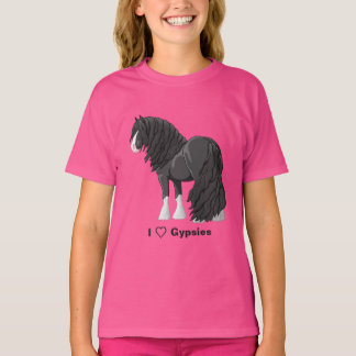 I Love Black Gypsy Vanner Draft Horses T-Shirt