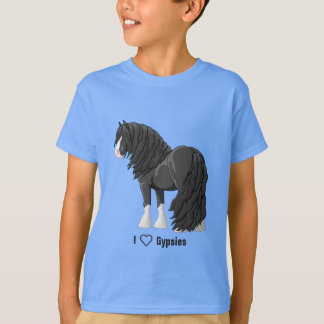 I Love Black Gypsy Vanner Draft Horses T-Shirt