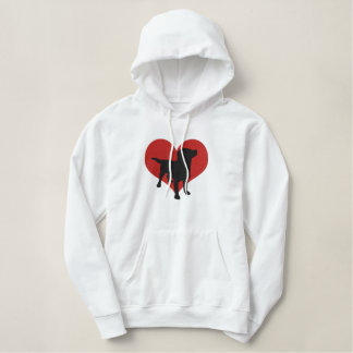 I Love Black Labradors Embroidered Hoodie