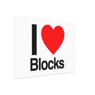 I love blocks stretched canvas prints