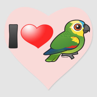 I Love Blue-fronted Amazons Heart Stickers