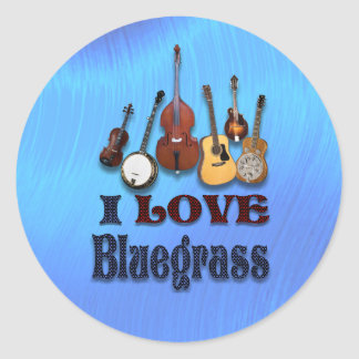 I LOVE BLUEGRASS -STICKER CLASSIC ROUND STICKER