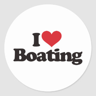 I Love Boating Round Sticker