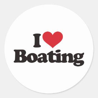 I Love Boating Round Sticker