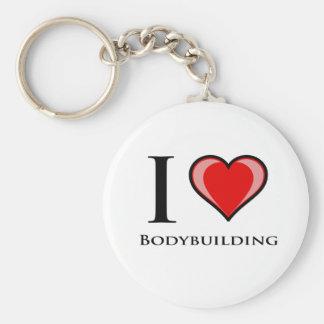 I Love Bodybuilding Basic Round Button Key Ring