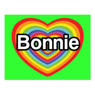 I love Bonnie: rainbow heart Postcard