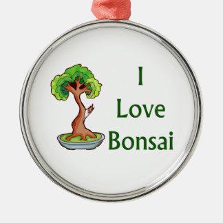 I love bonsai in green text shari tree graphi metal ornament