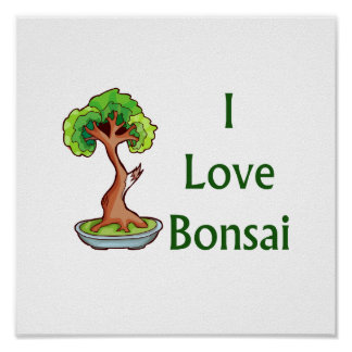 I love bonsai in green text shari tree graphi poster