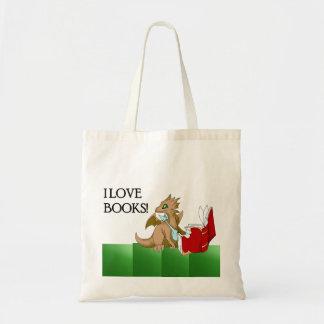 I Love Books Dragon Budget Tote Bag 2 Green