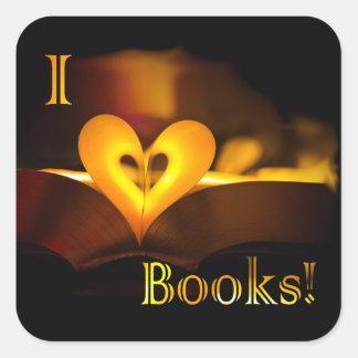 I Love Books - I 'Heart' Books (Candlelight) Square Stickers
