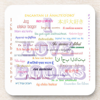 I Love Books in 40 Languages Coasters