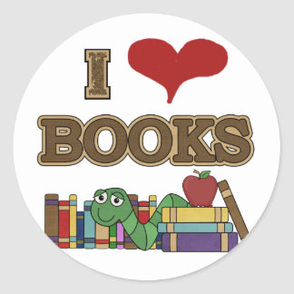 I Love Books Round Sticker
