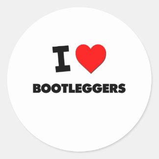 I Love Bootleggers Round Stickers