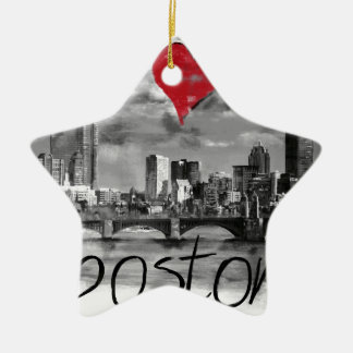 I love Boston Ceramic Ornament