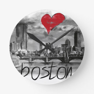 I love Boston Round Clock