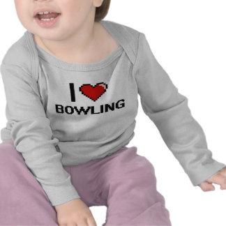 I Love Bowling Digital Retro Design Shirts