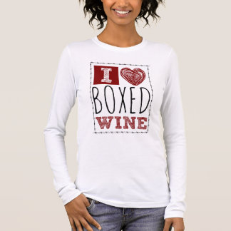 I Love Boxed Wine Barbed Wire Heart Long Sleeve T-Shirt