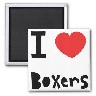 I love Boxers Square Magnet