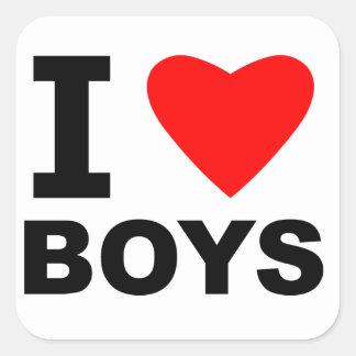 I Love Boys Square Sticker