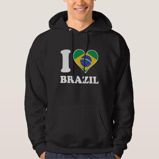 I Love Brazil Brazilian Flag Heart Hoodie