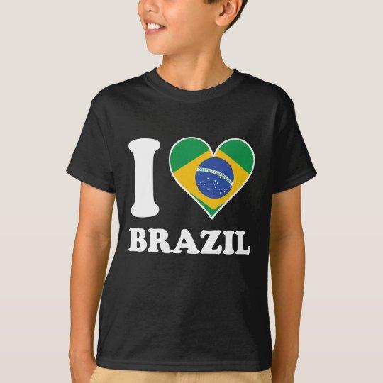 I Love Brazil Brazilian Flag Heart T-Shirt