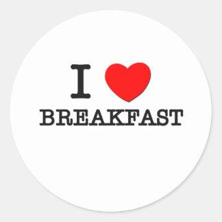 I Love Breakfast Round Sticker