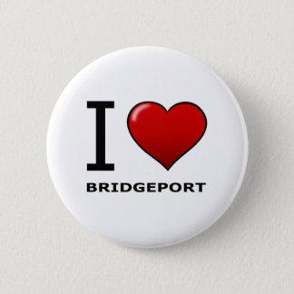 I LOVE BRIDGEPORT,CT - CONNECTICUT 6 CM ROUND BADGE