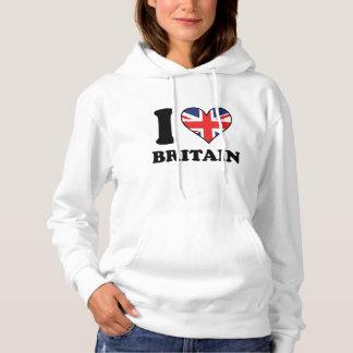 I Love Britain British Flag Heart Hoodie