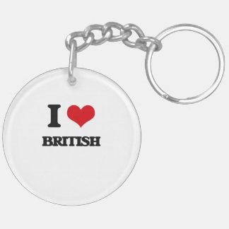 I Love British Key Chain