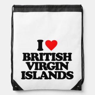 I LOVE BRITISH VIRGIN ISLANDS DRAWSTRING BACKPACKS