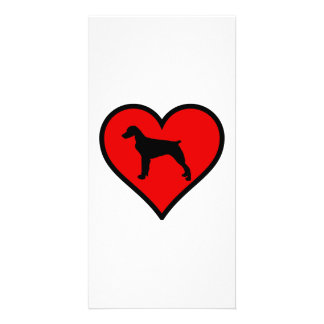 I Love Brittany Spaniel Dog Silhouette red Heart Customized Photo Card