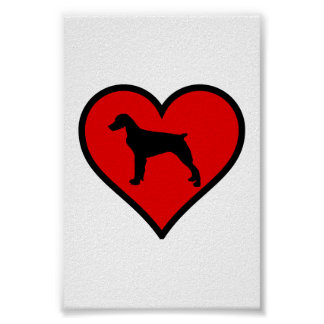 I Love Brittany Spaniel Dog Silhouette red Heart Poster