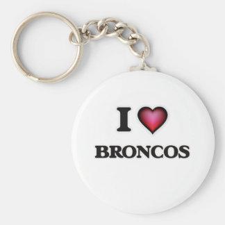 I Love Broncos Basic Round Button Key Ring