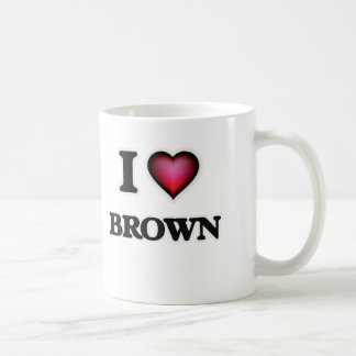 I Love Brown Coffee Mug