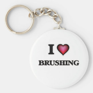 I Love Brushing Basic Round Button Key Ring