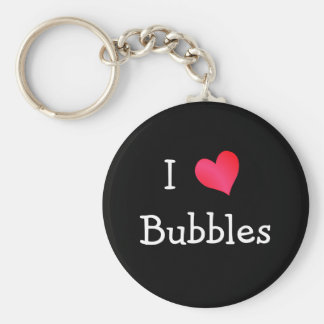 I Love Bubbles Basic Round Button Key Ring